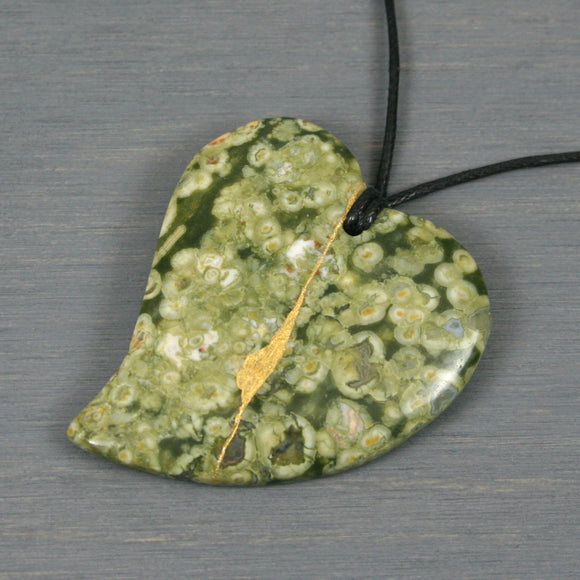 Rainforest jasper broken heart pendant with kintsugi repair on black cotton cord from A Kintsugi Life