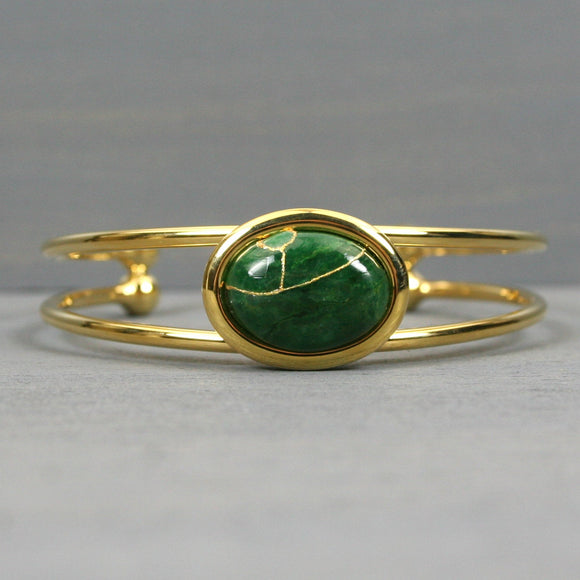 African jade kintusgi bracelet in a gold cuff setting from A Kintsugi Life