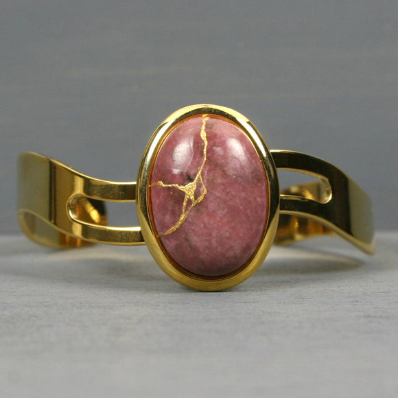 Rhodonite kintsugi bracelet with a gold cuff setting from A Kintsugi Life