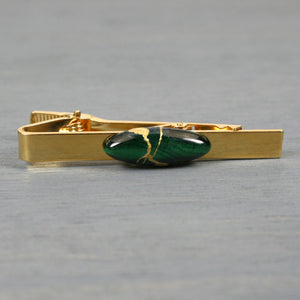Malachite tie clip with kintsugi repair on gold plated bar from A Kintsugi Life
