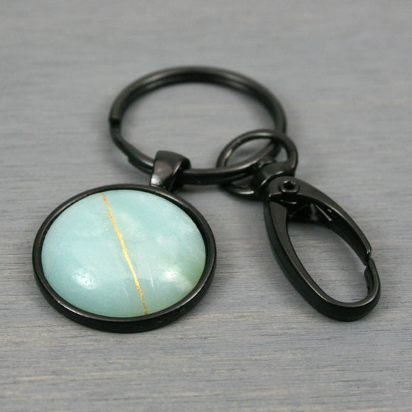 Amazonite kintsugi key chain with black swivel lobster claw from A Kintsugi Life