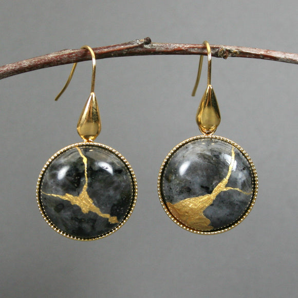 Larvikite kintsugi earrings on gold plated ear wires from A Kintsugi Life