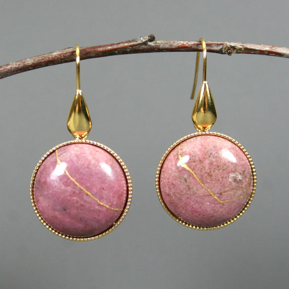 Rhodonite kintsugi earrings on gold plated ear wires from A Kintsugi Life