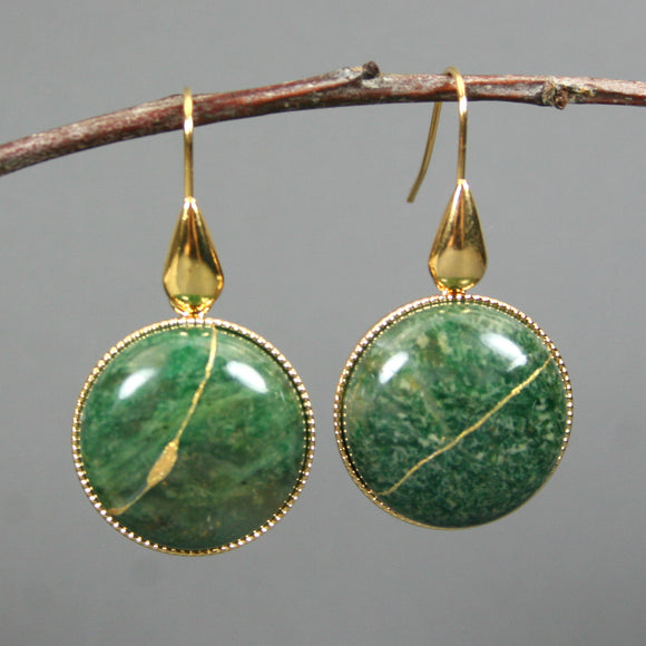 African jade kintsugi earrings on gold plated ear wires from A Kintsugi Life