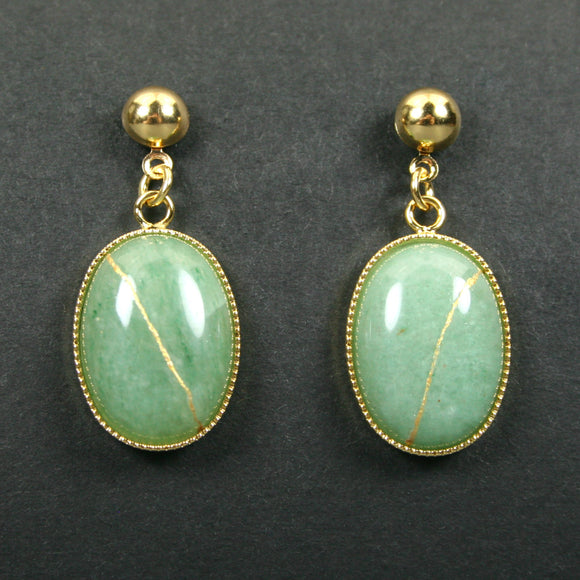 Green aventurine kintsugi earrings with gold plated ball posts from A Kintsugi Life