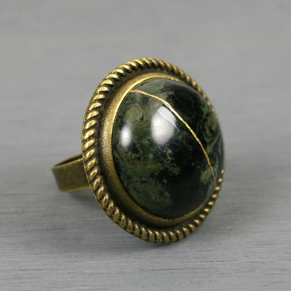 Kambaba jasper kintsugi ring in an antiqued brass adjustable setting from A Kintsugi Life