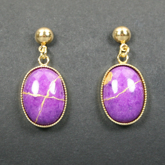 Purple dolomite kintsugi earrings with gold plated ball posts from A Kintsugi Life