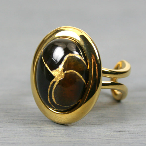 Black onyx kintsugi ring in a gold plated adjustable setting from A Kintsugi Life