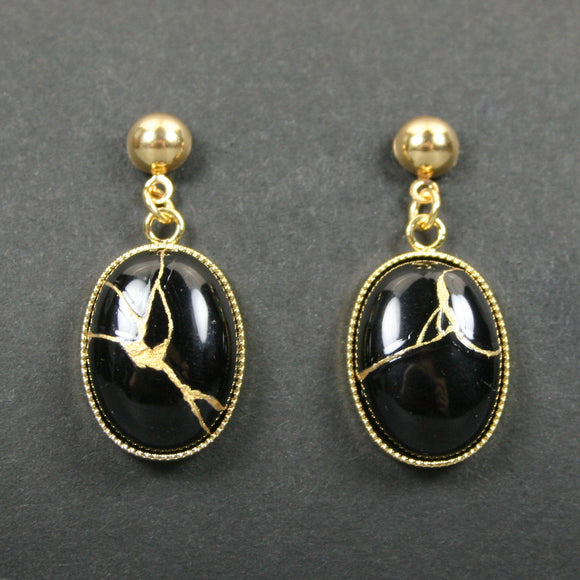 Black onyx kintsugi earrings with gold plated ball posts from A Kintsugi Life