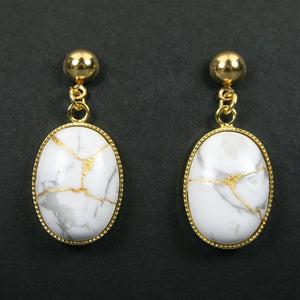 White howlite kintsugi earrings with gold plated ball posts from A Kintsugi Life