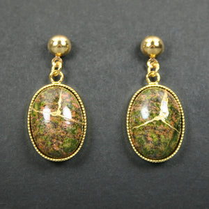 Unakite kintsugi earrings with gold plated ball posts from A Kintsugi Life