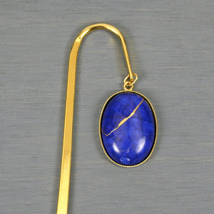 Lapis howlite with kintsugi repair on gold plated steel bookmark from A Kintsugi Life