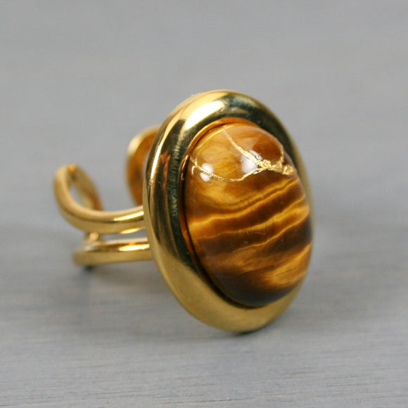 Tiger eye kintsugi ring in a gold plated adjustable setting from A Kintsugi Life