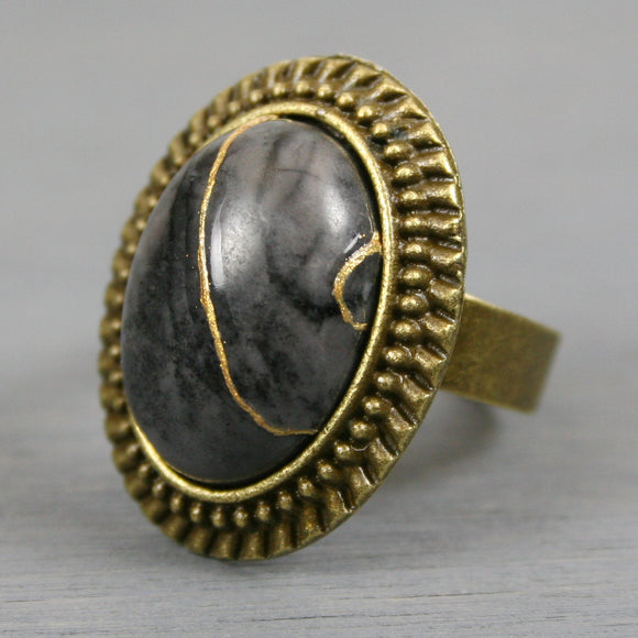 Picasso jasper kintsugi ring in an antiqued brass adjustable setting from A Kintsugi Life