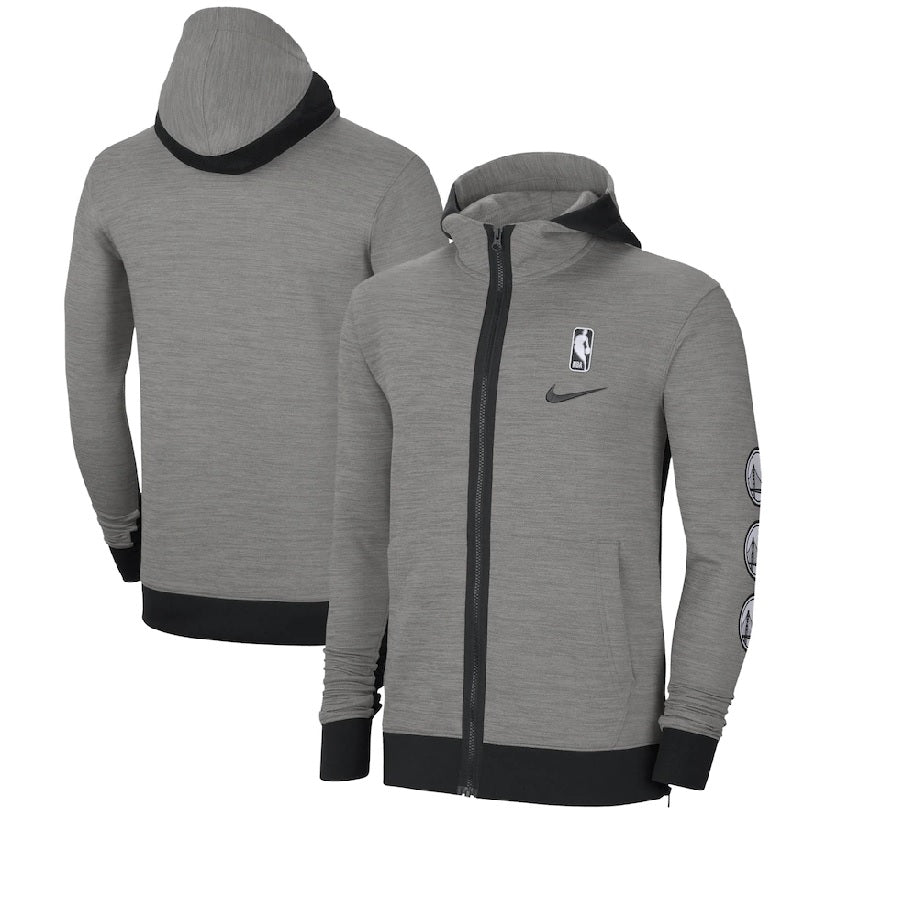Men's Nike Heathered Charcoal Golden State Warriors Authentic Showtime Performance Full-Zip Hoodie Jacket