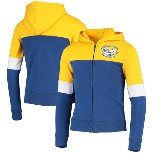 Youth New Era Royal Golden State Warriors French Terry Full-Zip Jacket