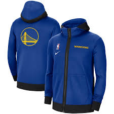 Golden State Warriors Authentic Showtime Performance Full Zip Hoodie Jacket Royal