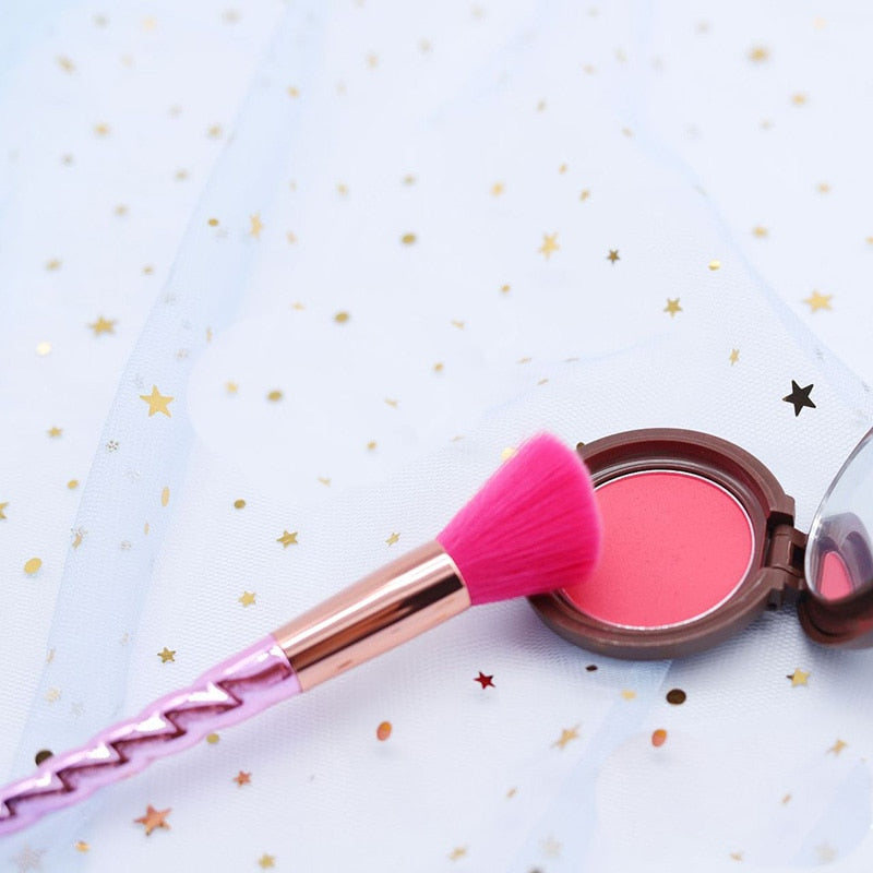 7pcs Lovely Pink Hair Makeup Brushes Set - thebestb4u.com