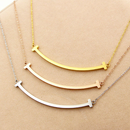 Smile Shape Chain Pendant Necklace - thebestb4u.com