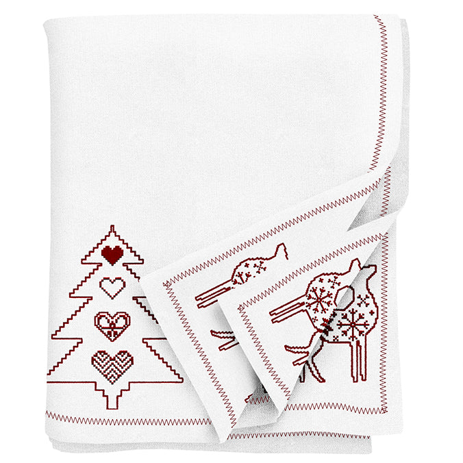 Embroidered  Reindeer Christmas Tablecloth