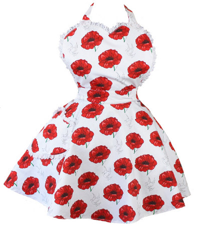 Poppy Womens Retro Apron - Pin Up Sweetheart Apron For Women - Poppies Apron