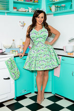Load image into Gallery viewer, Unicorn and Rainbows Womens Retro Apron. Mint Green Pastel Sweetheart Apron.