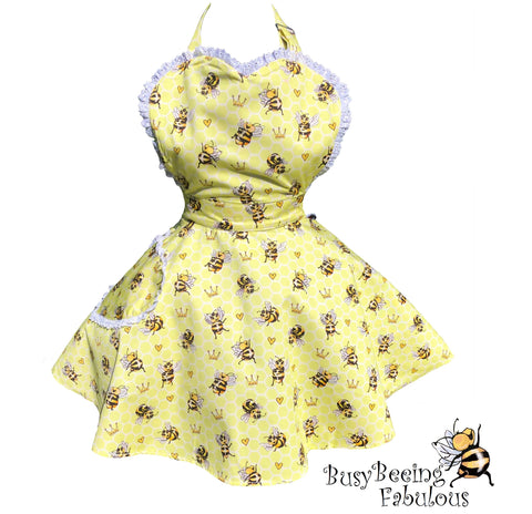 Busy Beeing Fabulous Womens Bee Apron. Bumblebee Queen Bee Retro Apron