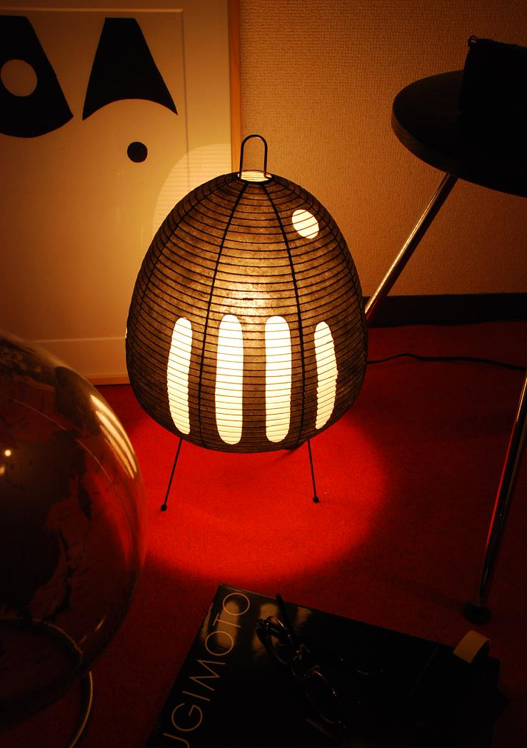 ISAMU NOGUCHI AKARI】Table lamp Japanese paper lighting 1AB (abstract pattern black)