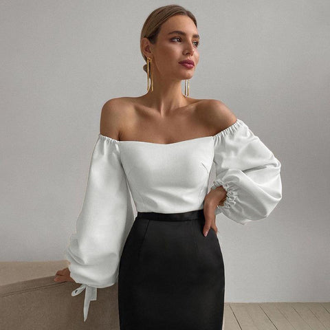 Benedetta Off-Shoulder Lantern Sleeve Top - Merkuree