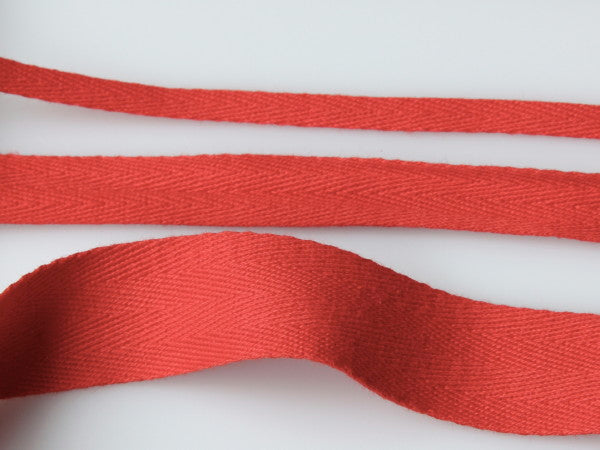 Cotton Herringbone Tape - Red