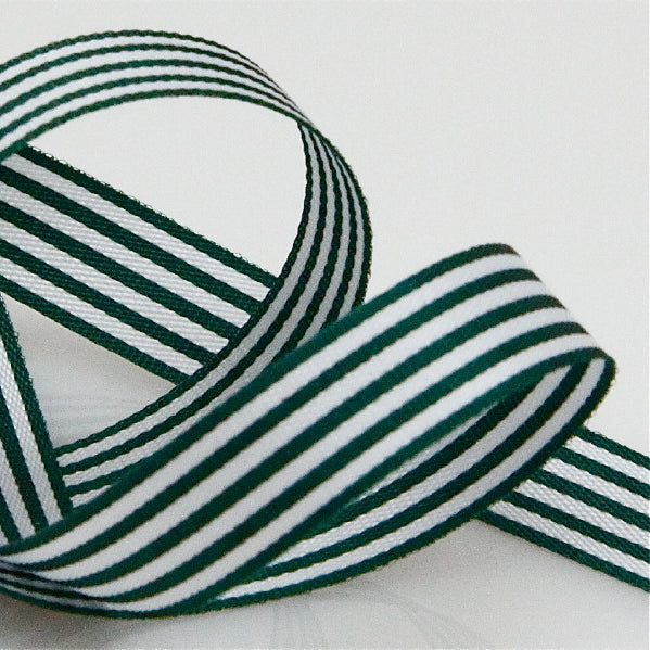 Candy Striped Ribbon 9mm - Bottle Green