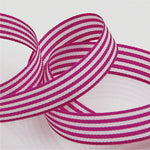 Candy Striped Ribbon 9mm - Magenta