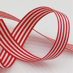 Candy Striped Ribbon 9mm - Postbox Red
