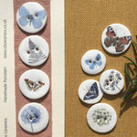 Set of 5 Porcelain Butterfly and Botanical Buttons