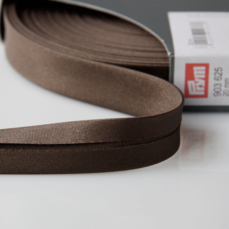 Prym Satin Bias Binding 20mm - 625 Dark Brown