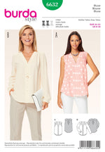 Burda Women's - 6632 Pleated Yoke Blouses