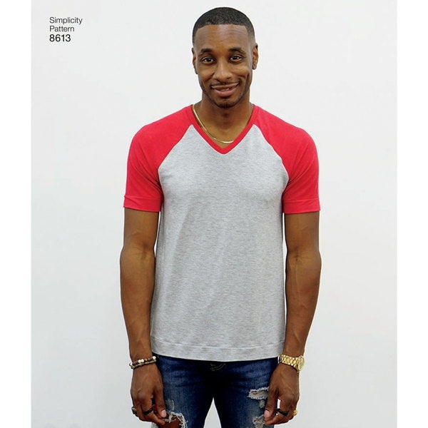 Simplicity Mens' 8613 - T-Shirt in three styles