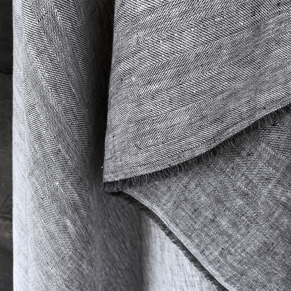 Ray Stitch Herringbone Linen - Bracon Ash