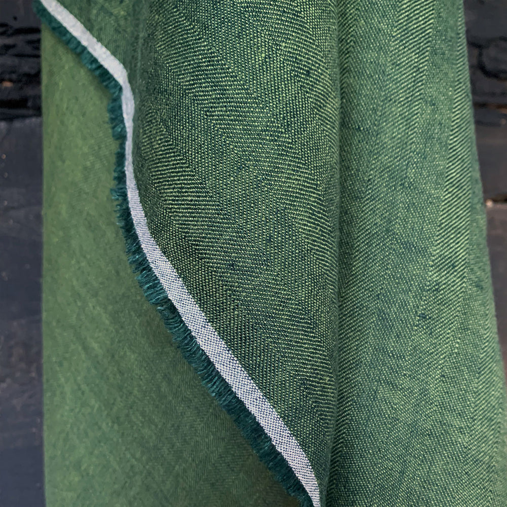 Ray Stitch Herringbone Linen - Dam Green