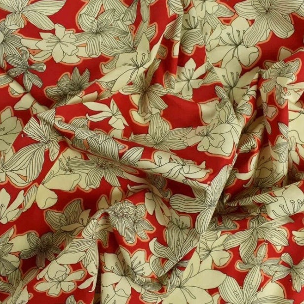 Luxury Printed Cotton Lawn - Jasmine Red