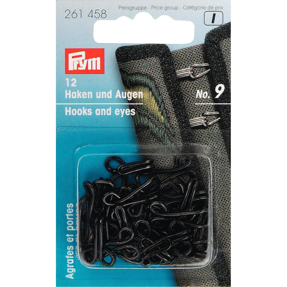 Prym 261458 - Jerkin Hooks & Eyes - Black No. 9