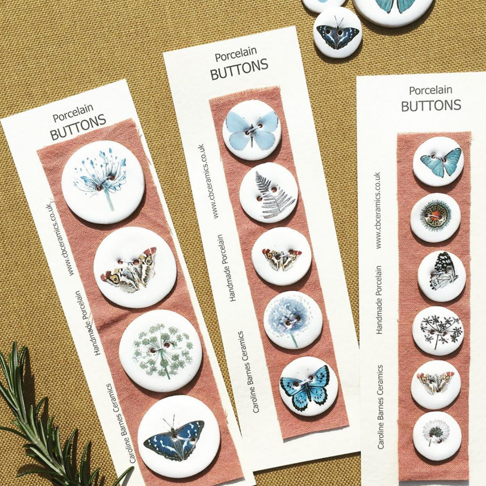 Set of 6 Porcelain Butterfly and Botanical Buttons