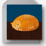 Peeping Ginger Moggy Cat Greetings Card