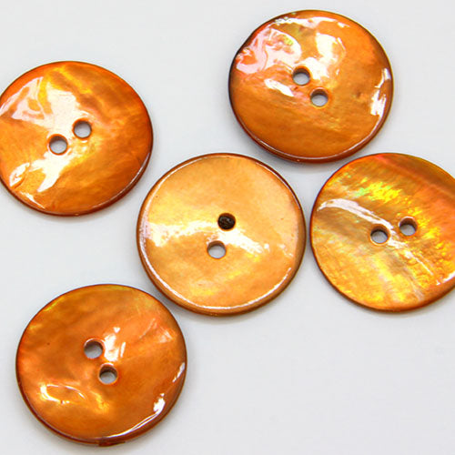 Coloured Shell Buttons - Amber