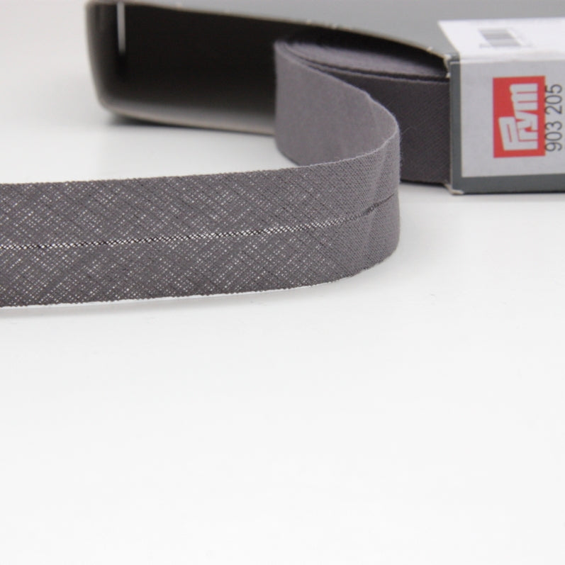 Prym Cotton Bias Binding 20mm - 205 Anthracite