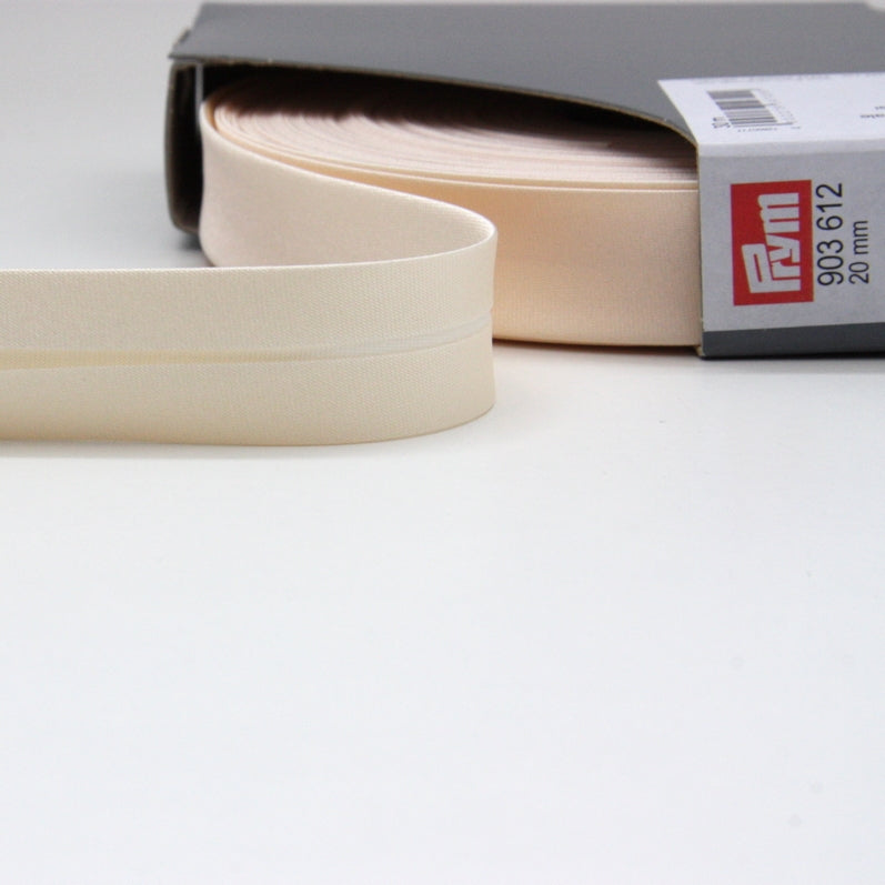 Prym Satin Bias Binding 20mm - 612 Natural White