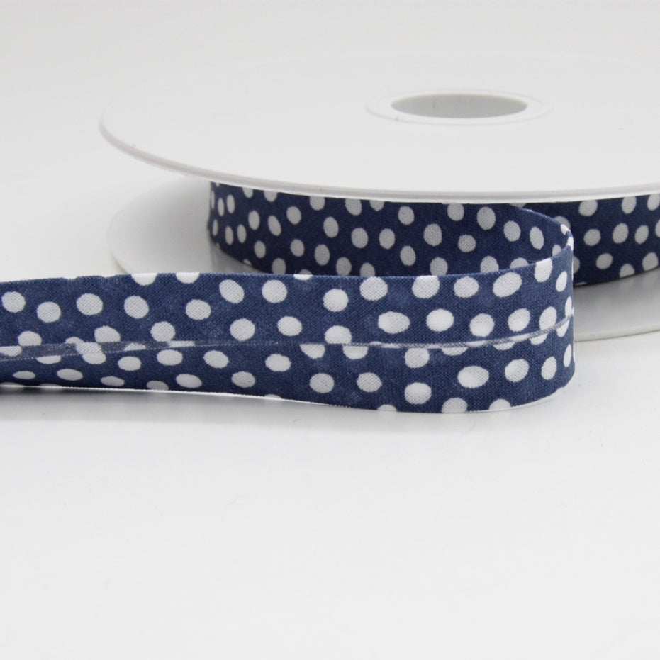 Dotty Bias Binding 20mm - Royal Blue