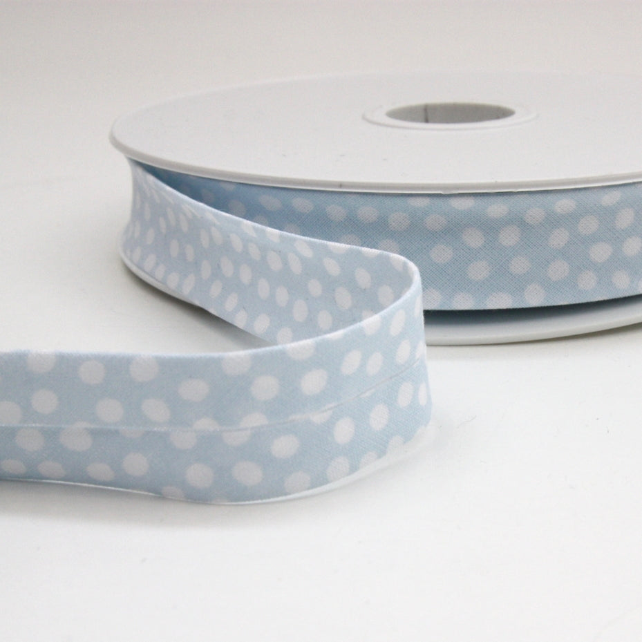Dotty Bias Binding 20mm - Pale Blue