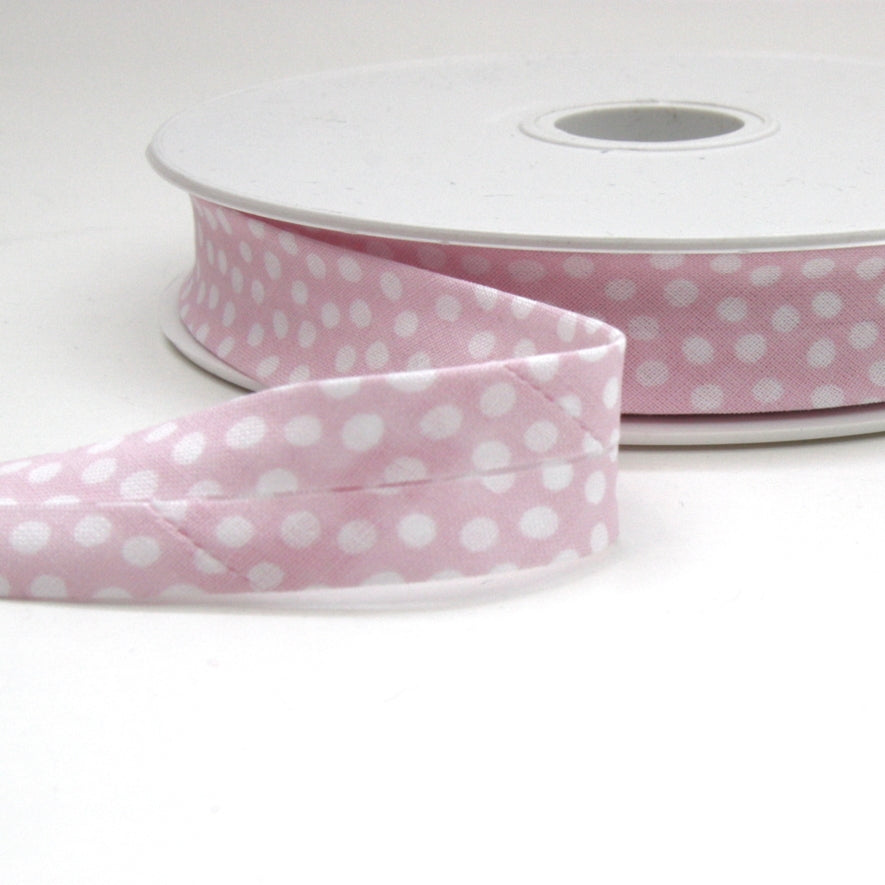 Dotty Bias Binding 20mm - Pale Pink