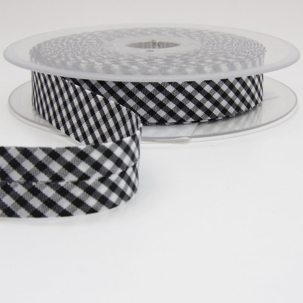 Gingham Bias Binding 20mm - Black